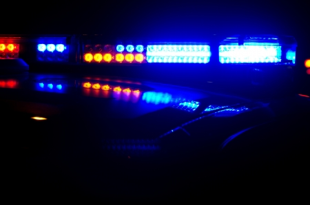 lightbar: Police lights at night.  Stock Photo