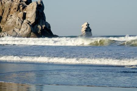 Waves coming ashore near Morro Rock in Morro Bay,CA along the Central Coast Stock Photo - 18860257
