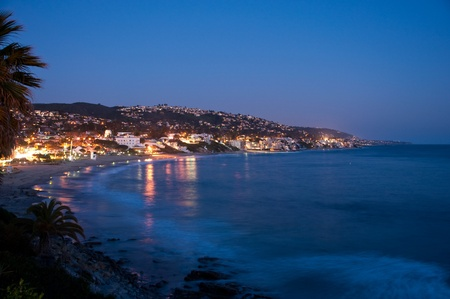 orange county: A view of Laguna Beach,CA in Orange County at twilight