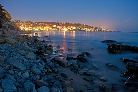 A view of Laguna Beach,CA in Orange County at twilight  photo