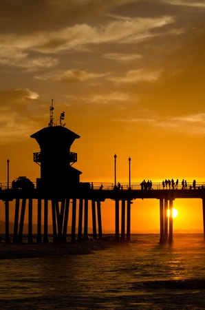 The pier in Huntington Beach, CA at sunset during a summer night Stock Photo - 21746211
