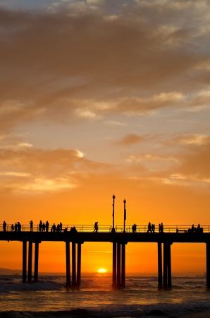 The pier in Huntington Beach, CA at sunset during a summer night Stock Photo - 21746213