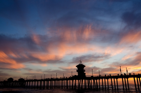 The pier in Huntington Beach, CA at sunset during a summer night   Stock Photo - 21746214