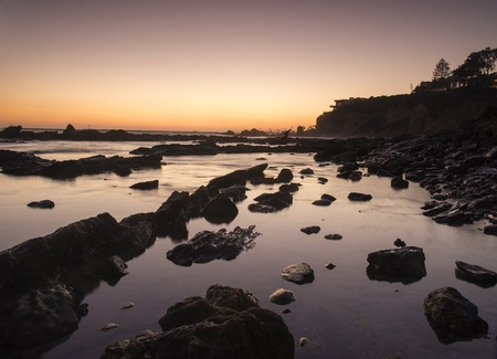 orange county: A view of the tide pools at Little Corona Beach in Newport Beach, CA