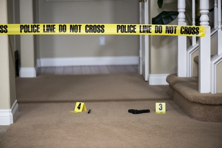 a gun lying on the ground next to a crime scene marker