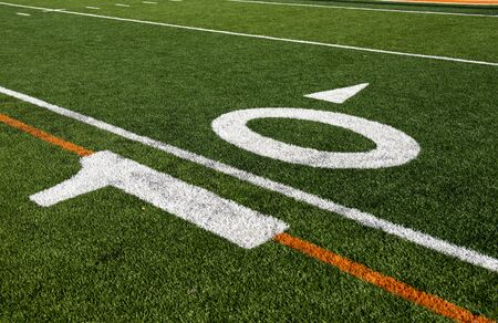 number 10: The 10 yard line on an American Football field.