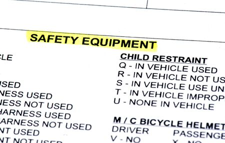 helmet seat: The safety equipment section of a police report