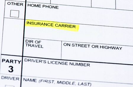 misdemeanor: The insurance section of a collision report. Stock Photo