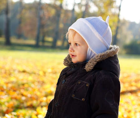 Portrait cute child against a background of sunny golden autumn nature  Blurred background photo