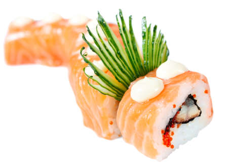 Sushi Roll with salmon, eel, caviar, cucumber and rice   Red Dragon   Isolated on white photo