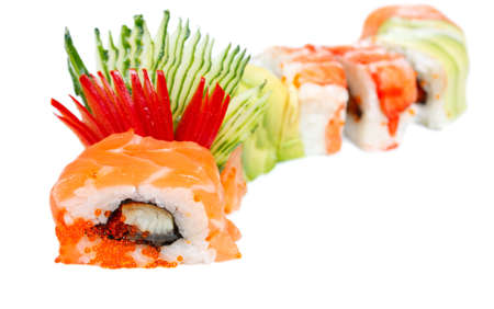 Sushi Roll with salmon, eel, caviar, avocado, rice and tiger shrimp   Rainbow dragon   Isolated on white photo