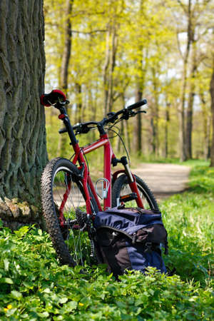 Bike and backpack against the background of nature in spring. Travelling by bicycle and a healthy lifestyle Stock Photo