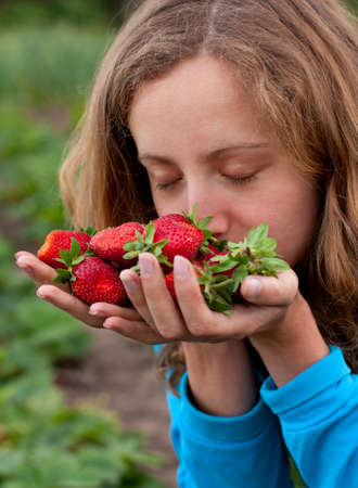 Young woman with red fresh strawberries in hands  Enjoying the aroma of ripe strawberries