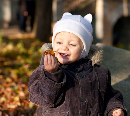 Cute child played by leaves against the background autumn nature photo