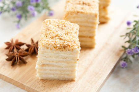 napoleon dessert: Cake Napoleon of puff pastry with sour cream  Tasty dessert Stock Photo