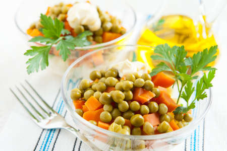 Vegetarian salad with canned green peas and boiled vegetables close up  Useful and healthy food Stock Photo - 16665386