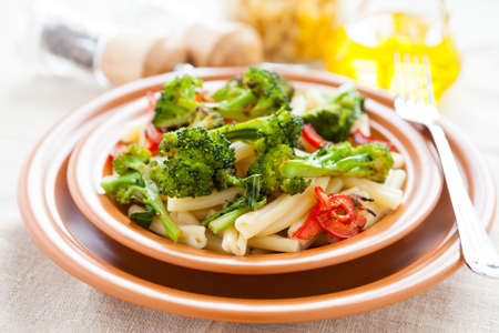 Nutritious pasta with roasted vegetables. Delicious italian food Stock Photo - 17575024