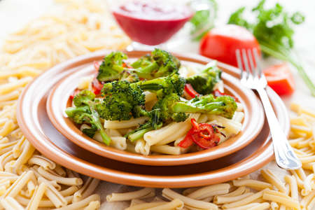 Delicious pasta with broссoli. Selective focus. Tasty italian food Stock Photo - 17575036