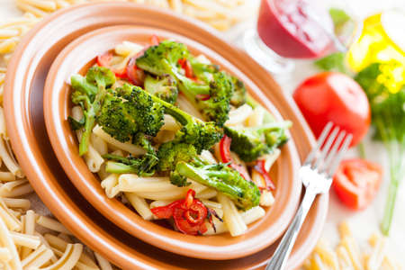 Nutritious Pasta with roasted vegetables. Delicious italian food Stock Photo - 17575040