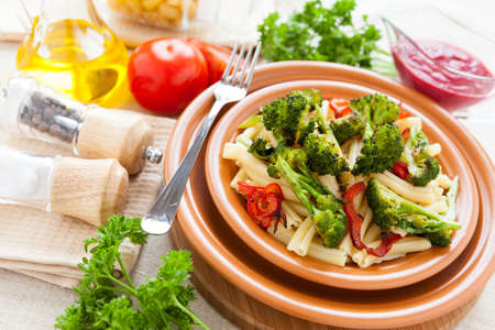 Pasta with vegetables broссoli, pepper and sauce. Delicious food Stock Photo - 17575044