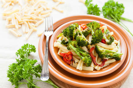 Pasta with vegetables broccoli and pepper  Italian food photo