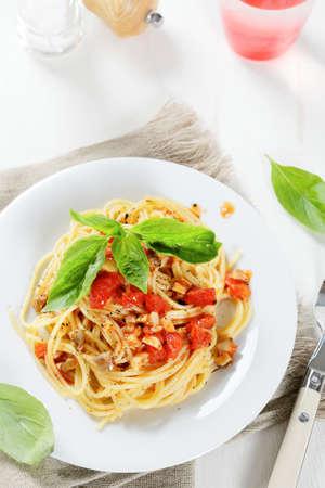 Spaghetti with tomato sauce. Italian food