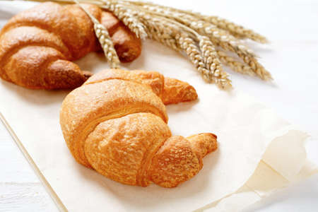 Crispy croissants with spikelets of wheat. Traditional French food photo