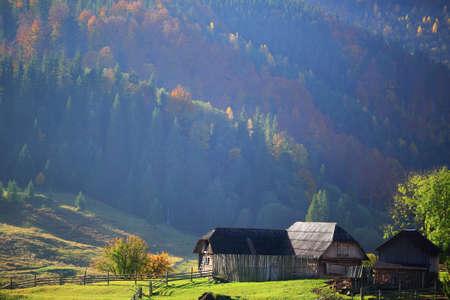 farmstead: The old farmstead in mountain village. Carpathians Mountains