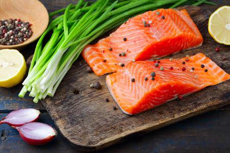 dog salmon: Salmon on cutting board. Seafood