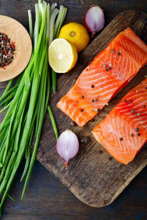 dog salmon: Salmon on cutting board. Top view. Seafood Stock Photo