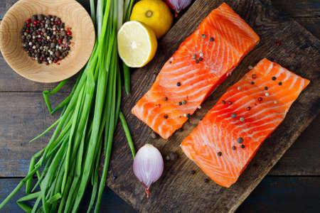 dog salmon: Red fish on cutting board. Salmon