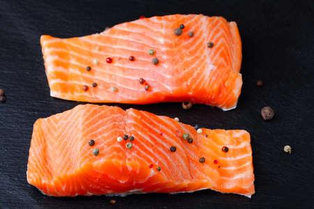 dog salmon: Red fish on a slate. Salmon