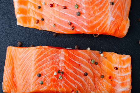 dog salmon: Salmon closeup on a slate. Seafood