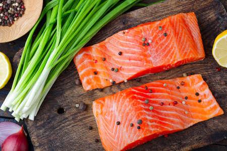 dog salmon: Salmon and spice on cutting board. Seafood