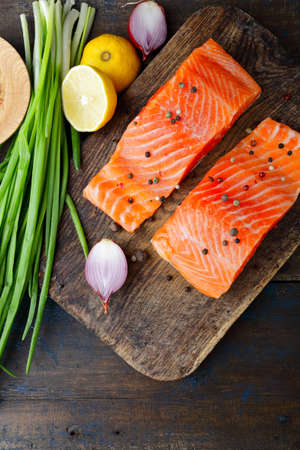 dog salmon: Red fish on cutting board. Top view. Seafood