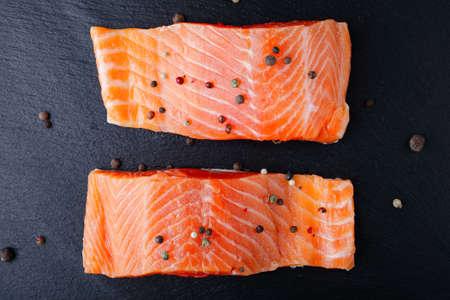 dog salmon: Salmon on a slate. Seafood