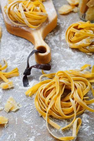 Tagliatelle homemade italian pasta closeup. Traditional mediterranean food