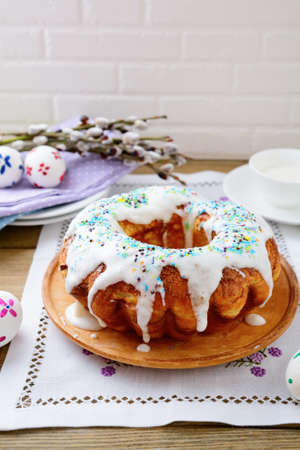 Easter cake on a napkin. Spring holiday