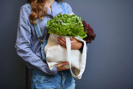 linen bag: Linen Bag with Lettuce Salad in woman hands against the background of a gray wall Stock Photo