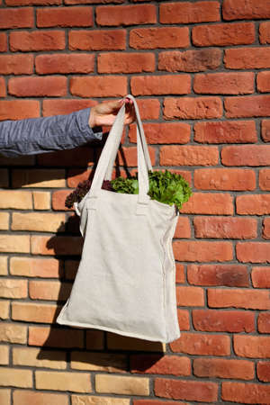linen bag: Linen Bag with Lettuce Salad against the background of brick wall closeup