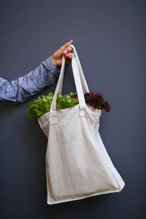 Linen Bag with Lettuce Salad in woman hand on gray background