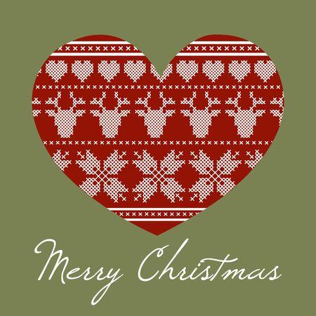 crosscountry: Christmas heart made cross stitch design. Scandinavian style.