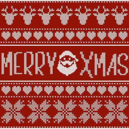 punto cruz: Dise�o de la Navidad hecha de punto de cruz con bordado blanco sobre fondo rojo. estilo escandinavo.
