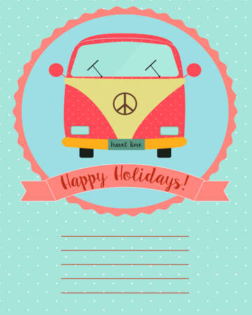 vw: Retro van in a card with empty lines for text on polka background.