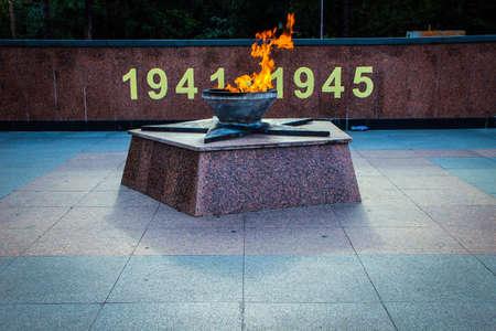 eternal: Nizhny Novgorod Kremlin eternal flame memorializing losses during World War Two Editorial