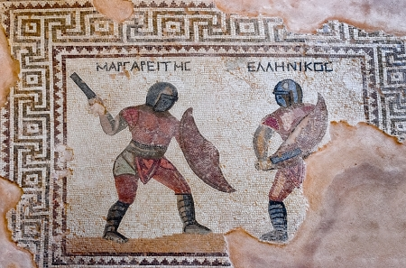 fragment of ancient mosaic in Kourion, Cyprus  The site is open to the public and photography is permitted