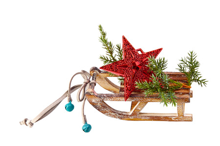 Christmas Decoration   stars,wood sled  isolated on a white background photo