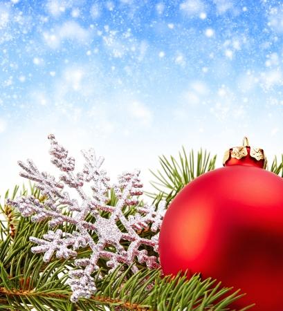 Christmas Decoration (fir branch,christmas ball,snowflake)  photo