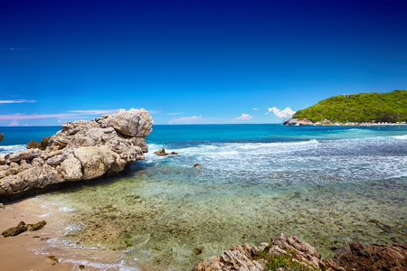 haiti: Caribbean beach and tropical sea in Haiti