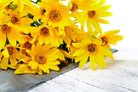 bouquet of fresh yellow flowers on white  background